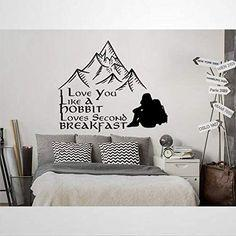 Amazon.com: I Love You Like A Hobbits Loves Second Breakfast Quote Wall Decal Mountain Wall Stickers for Bedroom Living Room Wall Art Home Decor: Baby