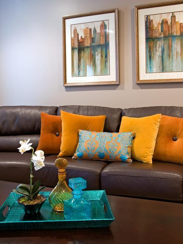 Contemporary Brown Leather Sofa With Orange Throw Pillows | Living room  orange, Brown living room decor, Brown couch living room