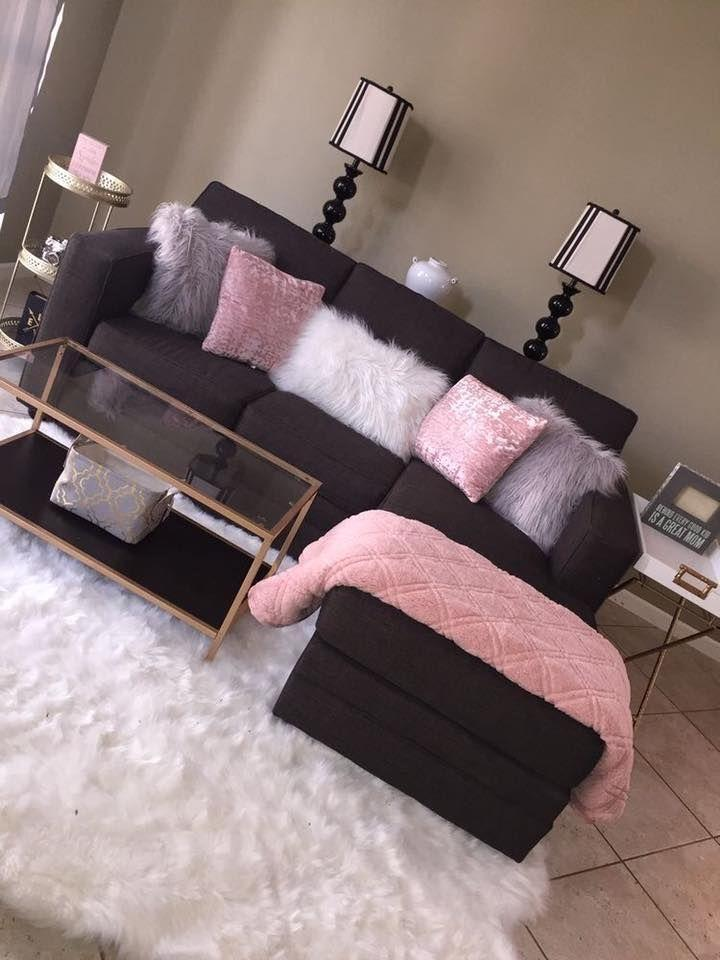dark brown couch with accent light pink, light grey, and white pillows |  Living room decor apartment, Apartment living room, Apartment decor