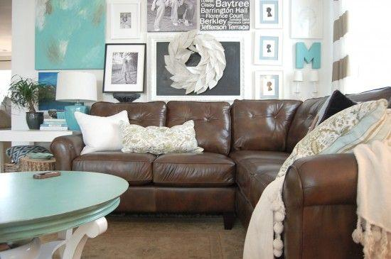 Image result for Bright tones rugs brown sofa pinterest