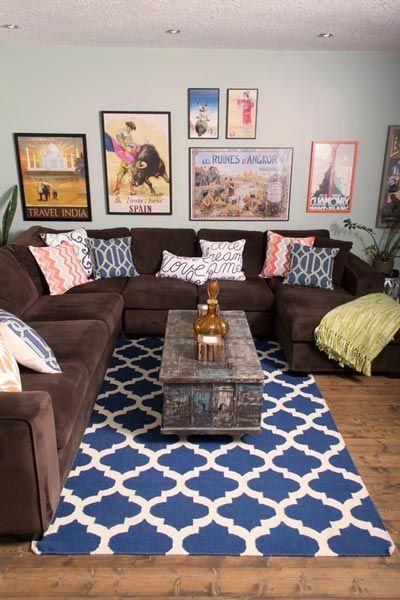 Image result for Color contrast rugsbrown sofa pinterest