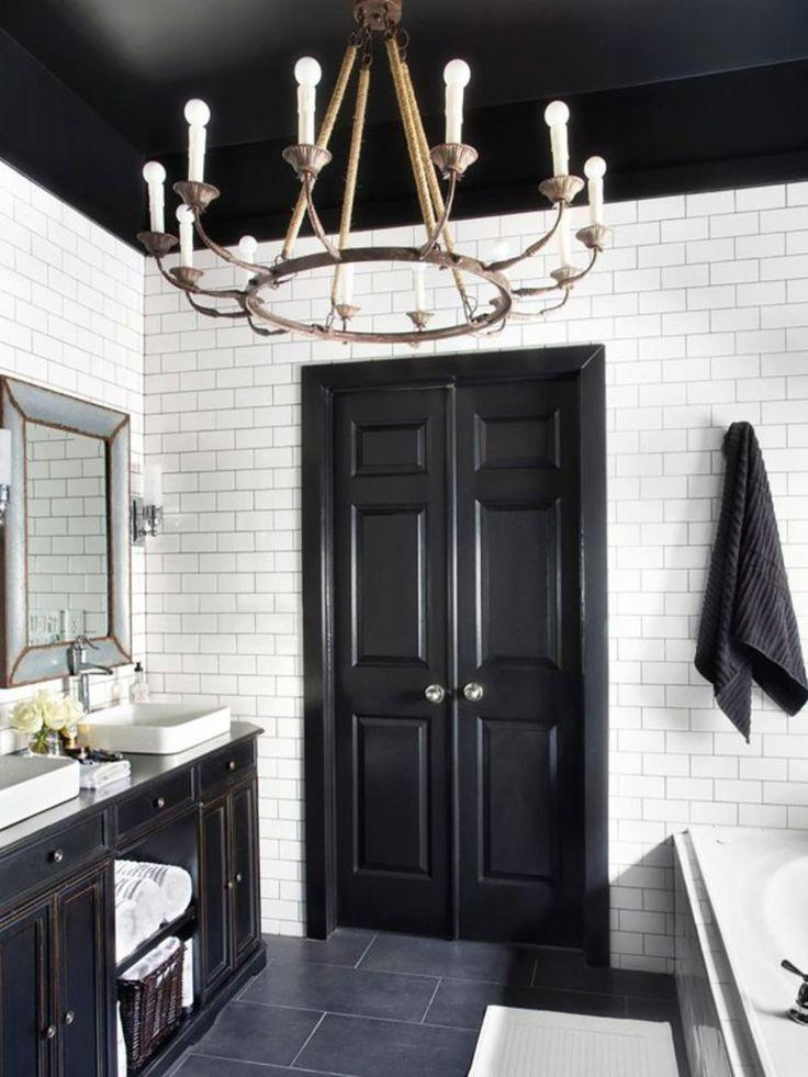Image result for Drama In Dark Grey Tiled Walls, Black Painted Door, And White Ceiling bathroom pinterest