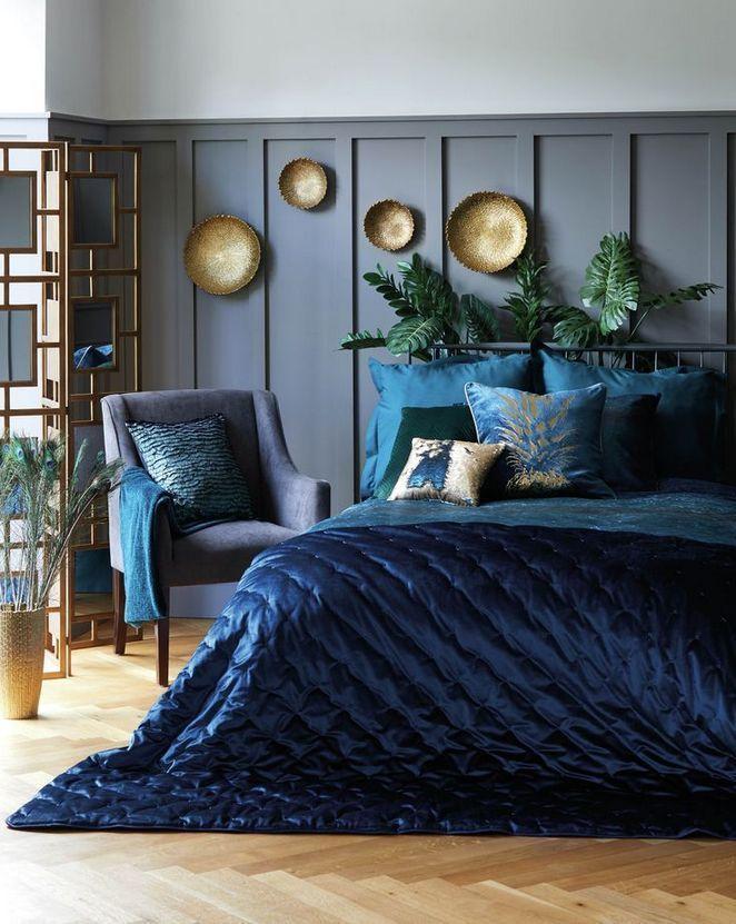 Image result for Jewel toned blue: blue grey bedroom pinterest