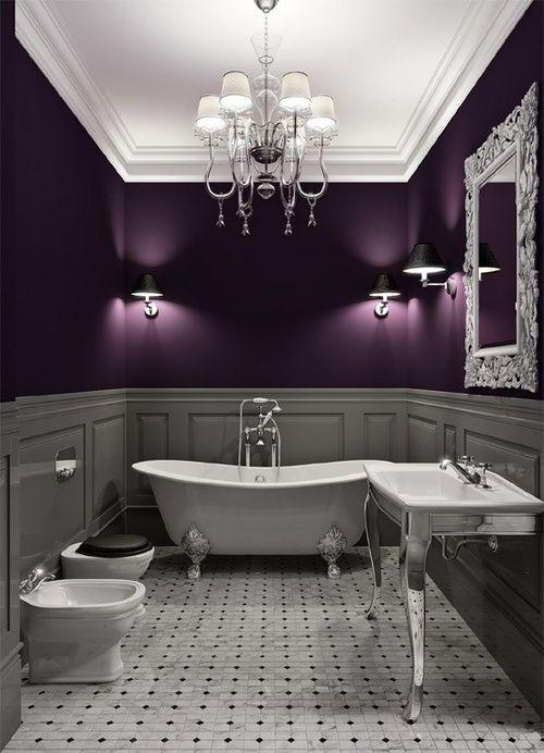 Image result for Lavender Paint With Soft Gray Tiles bathroom pinterest