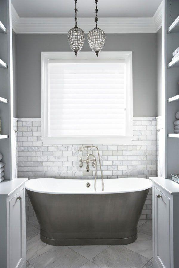 Image result for Light Gray Subway Tile With Dove Gray Paint bathroom pinterest
