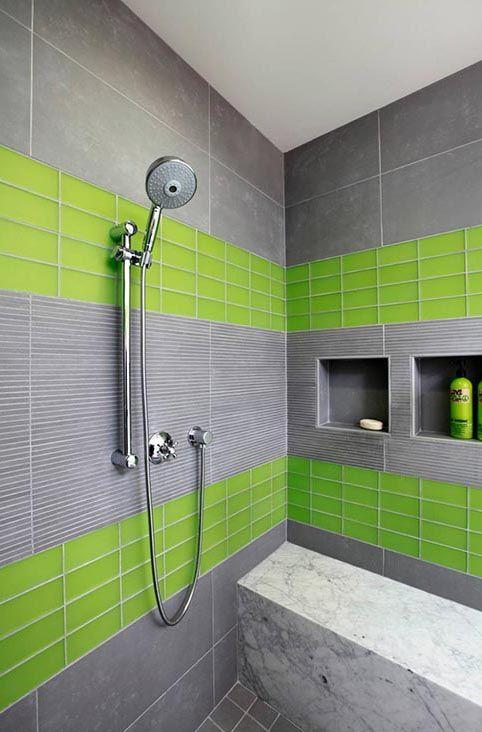 Image result for Lime Green And Gray Tile bathroom pinterest