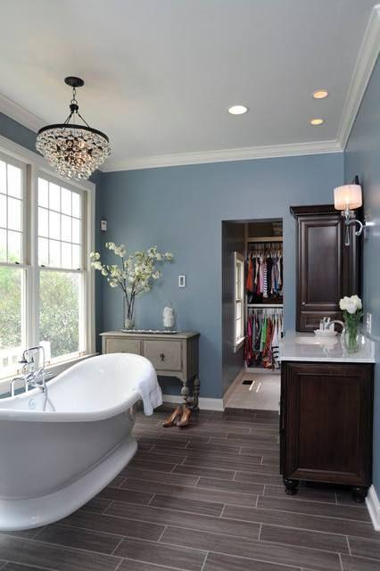 Image result for Medium Blue Walls And Bright White Trim With Gray Tile bathroom pinterest