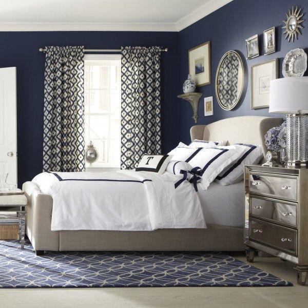 Image result for Patterned curtain blue grey bedroom pinterest