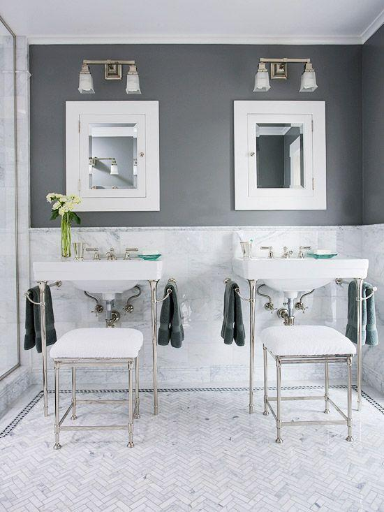 Image result for Pick A Cool-Toned White For Charcoal Gray Walls bathroom pinterest