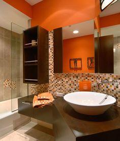Image result for Red-Orange And Light Gray Tiles bathroom pinterest