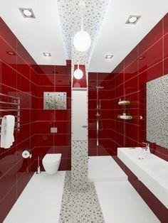 Image result for Red, White, And Medium Gray Tiles bathroom pinterest