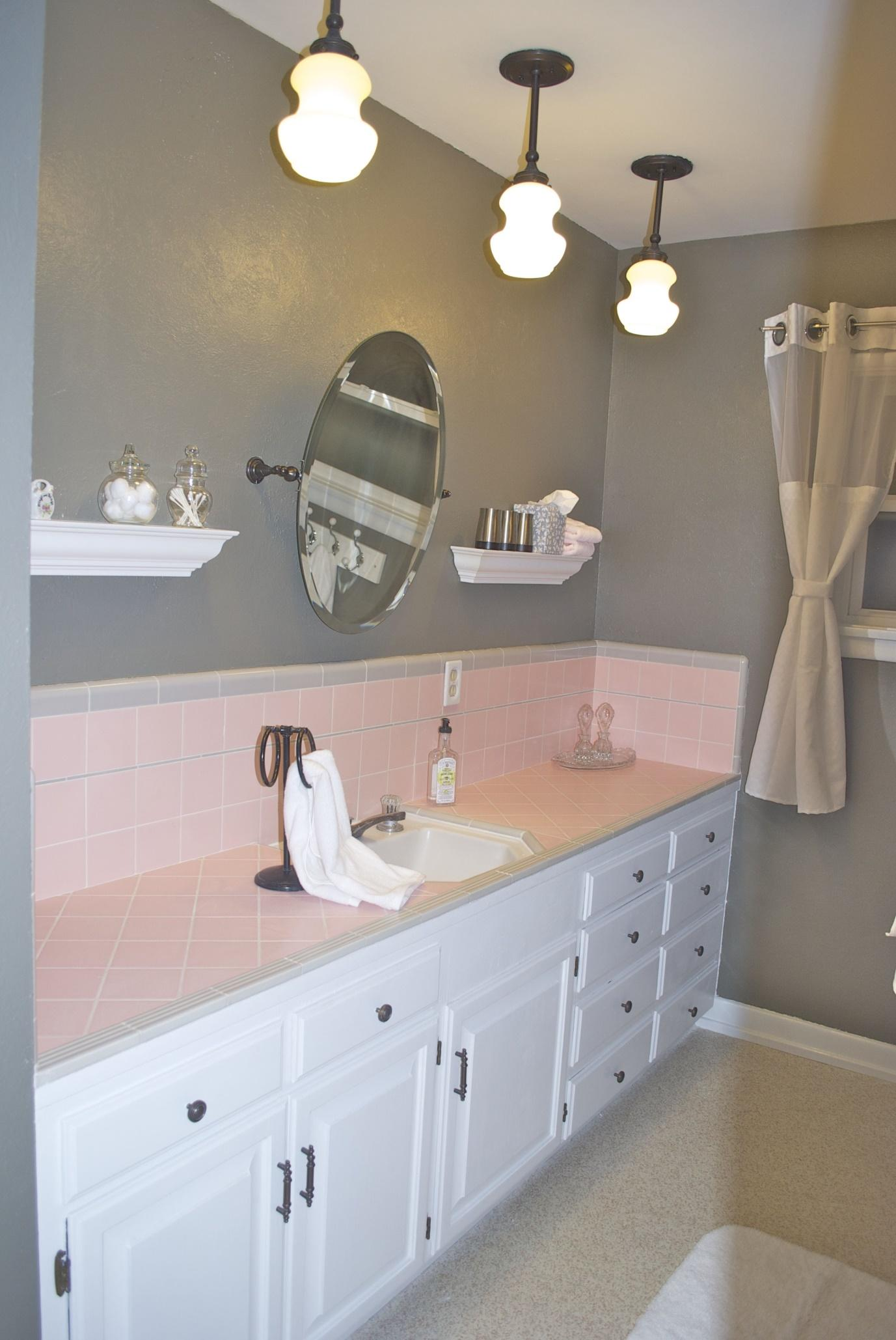 Image result for Rose Pink With Multiple Shades Of Gray Tile bathroom pinterest
