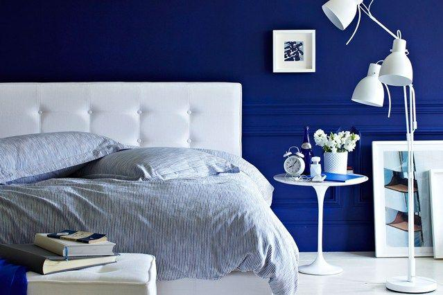 Image result for royal blue wall bedroom pinterest