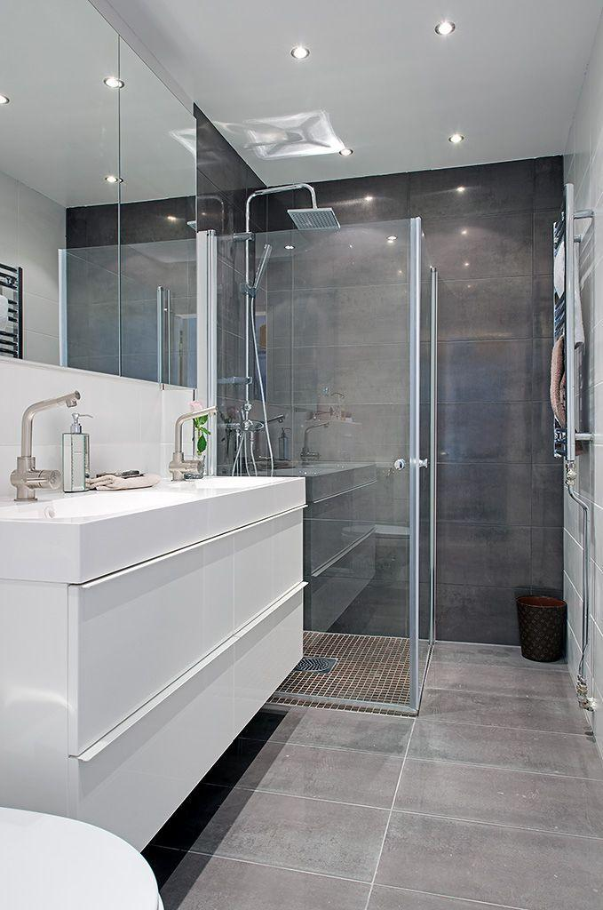 Image result for Stark White Walls Against Dark Charcoal Tile bathroom pinterest