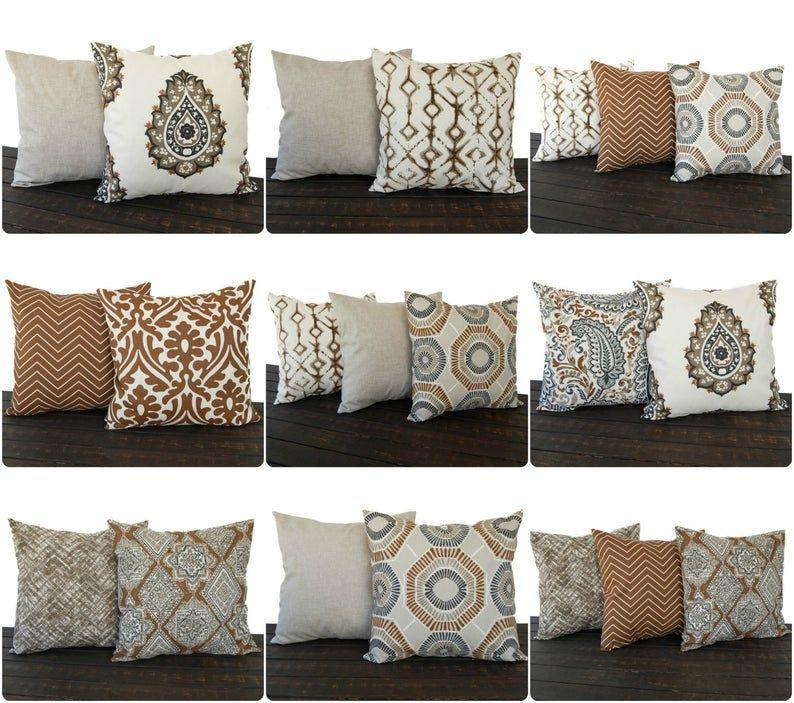 Image result for throw pillows for brown couch pinterest