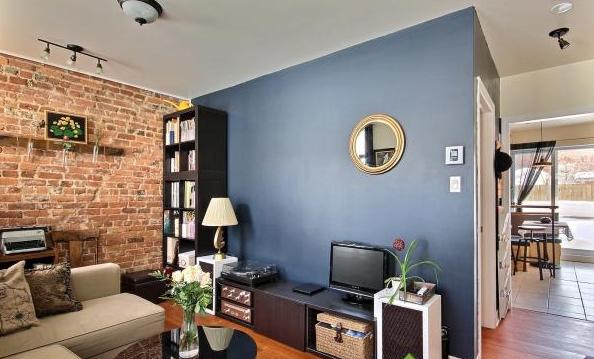 Image result for White brick walls:blue grey bedroom pinterest