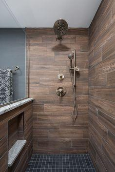 Image result for Wood Tone Grey Tile With Marbled Grey Tile And White Ceiling bathroom pinterest