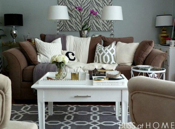 Living Room Refresh...buh-bye-blues | B @ H | Brown couch living room, Brown  living room decor, Brown sofa living room