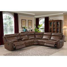 Nicole Reclining Faux Leather Upholstered Sectional Sofa - On Sale - Overstock - 7110312