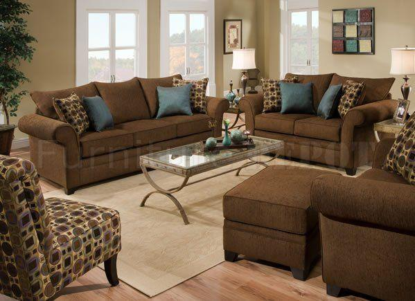 Sable Brown Fabric Sofa & Loveseat Set w/Accent Throw Pillows | Brown  living room, Brown and blue living room, Brown living room decor